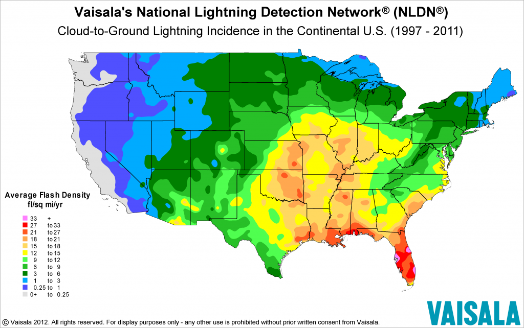 Map: U.S. Lightning Flash Density