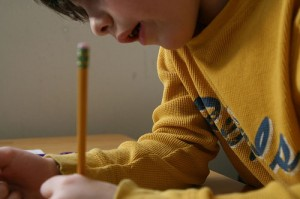 Image: Child Writing with Left Hand