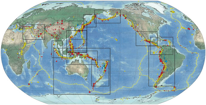 Map: Seismicity (Earthquake Geographic Distribution) of the Earth 1900-2012