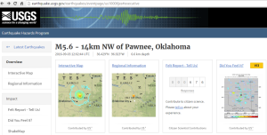 Screen Shot: USGS Pawnee, Oklahoma Earthquake Page - September 3, 2016
